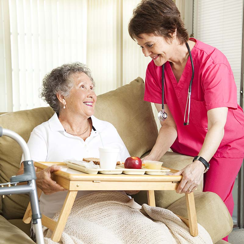 Image of a nurse providing a plate of food for an elderly patient on the couch.